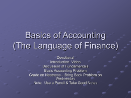 Basics of Accounting (The Language of Finance)