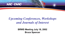 Upcoming Workshops, Conference and Journals