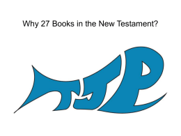 Why There are 27 Books in the New Testament