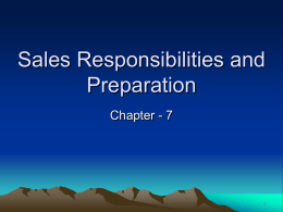 Sales Responsibilities and Preparation