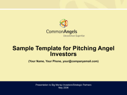 Sample Template on Pitching Angels