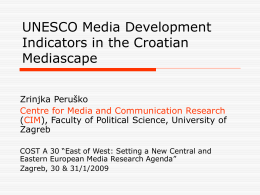 UNESCO Media Development Indicators in the Croatian Media