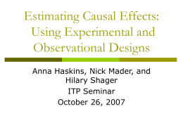 Estimating Causal Effects - Interdisciplinary Training Program in the