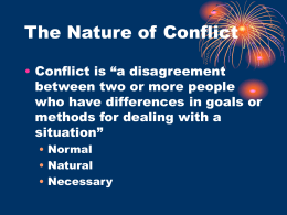 The Nature of Conflict