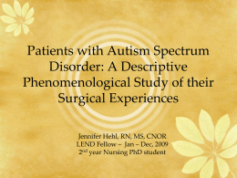 Patients with Autism Spectrum Disorder: A Descriptive