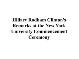 Hillary Rodham Clinton`s Remarks at the New York University