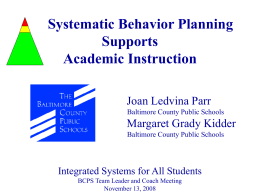 Systematic Behavior Planning Supports Academics
