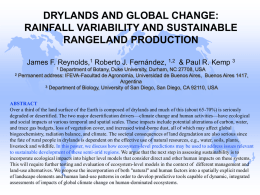 DRYLANDS AND GLOBAL CHANGE: RAINFALL VARIABILITY AND