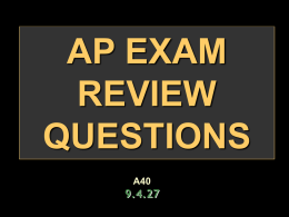 ap exam review questions - AHS AP US HISTORY / FrontPage