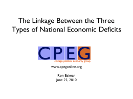 The Linkage Between the Three Types of National Economic Deficits