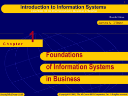 Chapter 1: Foundations of IS in Business