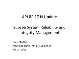 Subsea Reliability and Integrity Management - My Committees