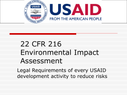 22 CFR 216 Environmental Impact Assessment