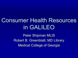 Consumer Health Resources in GALILEO