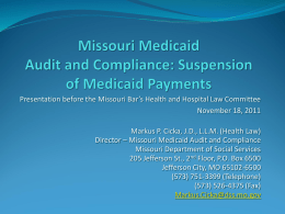 Missouri Medicaid Audit and Investigations