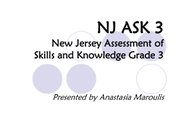 NJ ASK 3 New Jersey Assessment of Skills and Knowledge Grade 3
