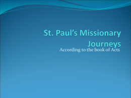St. Paul`s Missionary Journeys - St. Mary Coptic Orthodox Church