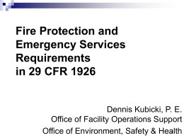 DOE Facility Fire Safety Initiative Initial Joint Review