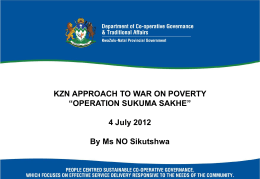 KZN Approach to War on Poverty - Department of Co