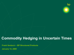 Commodity Hedging in Uncertain Times Frank Verducci – BP