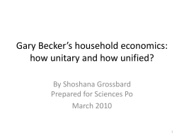 Gary Becker`s models of the household: how - OFCE