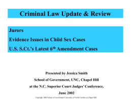 Jurors, Evidence Issues in Child Sex Cases, and US Supreme Court`s