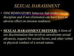 SEXUAL HARASSMENTAND FRATERIZATION