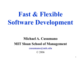 Fast and Flexible Software Development