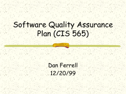 Software Quality Assurance Plan (CIS 565)