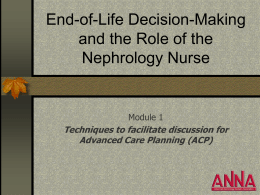 Techniques to facilitate discussion for Advanced Care Planning (ACP)