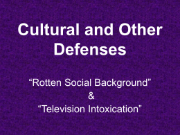 Cultural Defenses - Columbia Law School