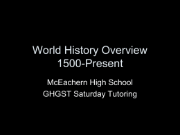 World History Overview to 1600