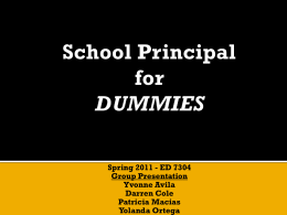 Spring 2011: School Principal for Dummies