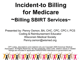 Billing Incident-to Services