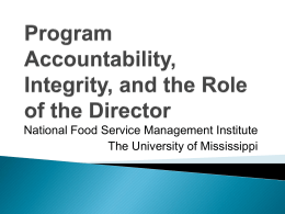 Program Accountability and the Role of the School Nutrition Director