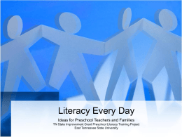 Literacy Without the Books - Tennessee State Personnel