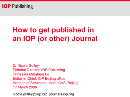 How to get published in an IOP (or other) Journal