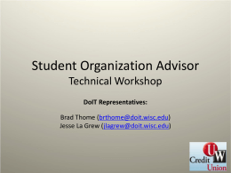 Student Organization Advisor Technical Workshop