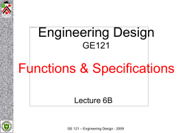 Functions and Specifications