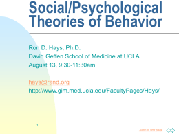 Social/Psychological Theories of Behavior