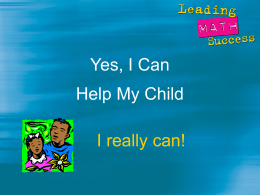 Yes, I Can Help My Child