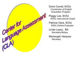 Center for Language Assessment - Bethlehem Area School District