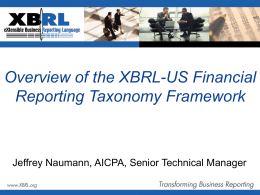 Overview of the XBRL-US Financial Reporting Taxonomy Framework