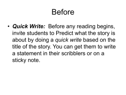 Quick Write - Reading Intervention wiki