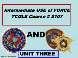 Intermediate USE Of FORCE TCOLE # 2107
