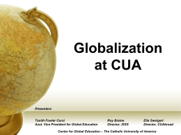global education at cua - Center for Global Education