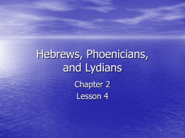Hebrews, Phoenicians, and Lydians