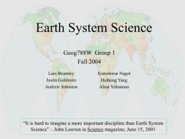 Earth Systems Science