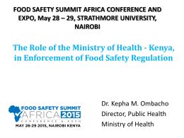 The role of Ministry of Health Kenya in enforcement of food safety
