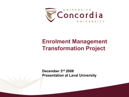 Enrolment Management Transformation Project